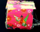 Japanese Fabric Tape - Pink Tape - Flower Fabric Tape - Origami Crane - Chrysanthemum - Cherry Blossoms