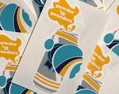 Powder n' Pounders Sticker - Retro Sticker - Beer Vinyl Sticker - Snowboard Sticker - Skiing Beer Decal by Oh Geez Design