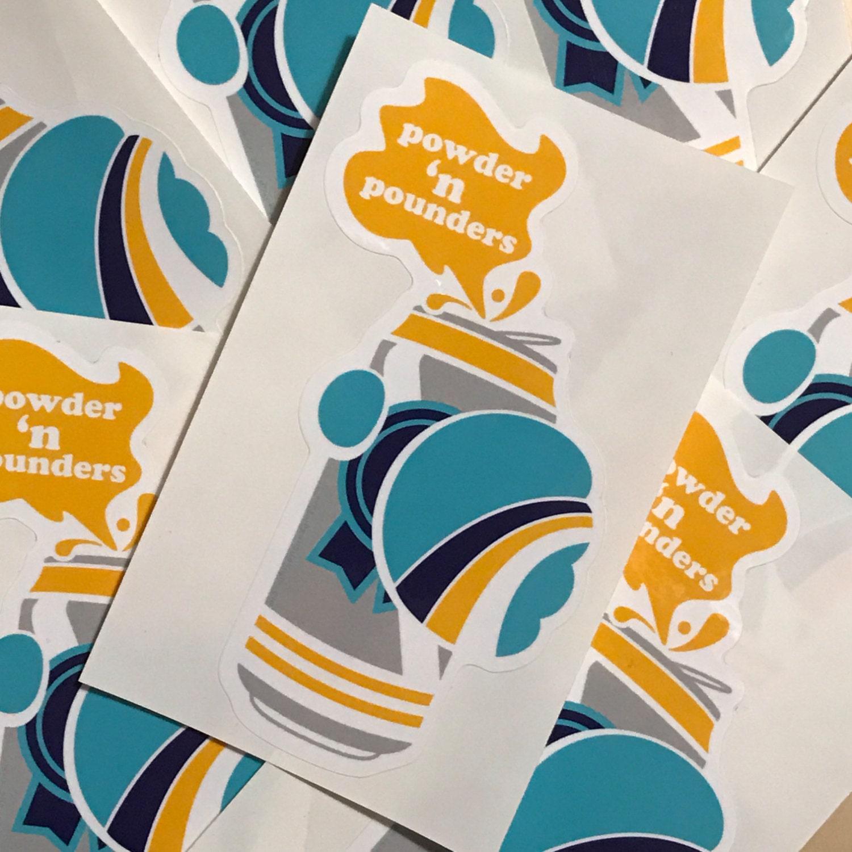 Bumper sticker creator canada -  Powder N Pounders Sticker Retro Sticker Beer Vinyl Sticker Snowboard Sticker