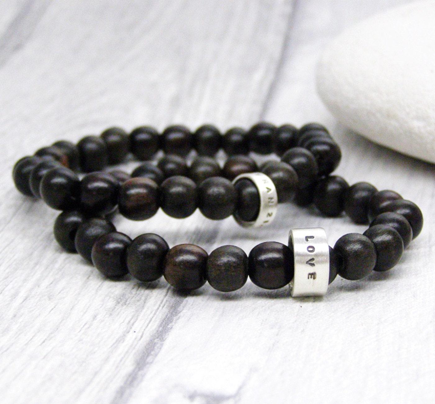 personalised wood bead mens bracelet id beaded bracelet. Black Bedroom Furniture Sets. Home Design Ideas