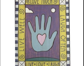 Live Well, Love Much, Laugh Often Wooden Poster