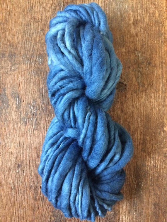 Indigo dyed, dark blue handspun luxury yarn, 34 yards, chunky weight handspun, plant dyed, indigo blue yarn, botanical dyes, super soft