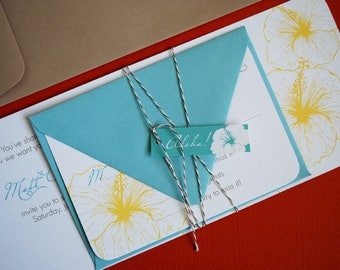 TWINE COLLECTION-  Vintage Hawaiian invitation, order of 150 sets