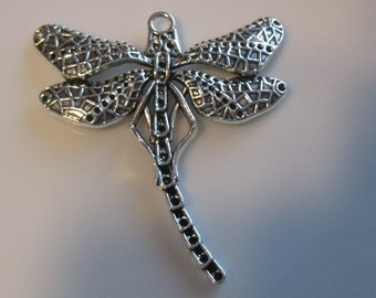 Pendant-Antique silver dragonfly  pendant--jewelry supplies-beading supplies-necklace pendant-one pendant