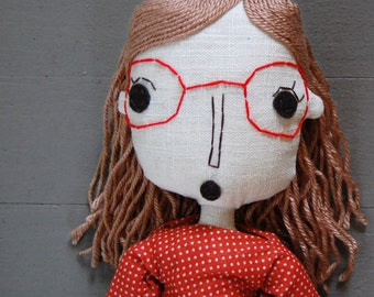 Rag Doll, Handmade Doll, Fabric Doll, Custom Doll, Personalized Doll, Art Doll, Custom Portrait, Girlfriend Gift, Wedding Shower Gift
