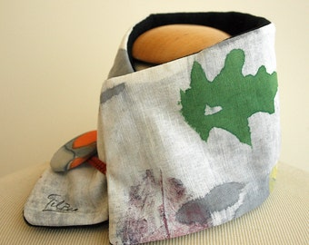 Hand painted Linen & Cotton. Neck Warmer-Fleece. 18.1x4.7 in. Ideas for her.Scarf neck warmer.Handpainted.Brithday gift