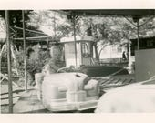 vintage photo 1950 Little Girl Colleen Victorville Driving a Toy Car Fair Ride