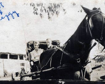 vintage photo 1918 Bill and Peggy Ride in Horse & Buggy