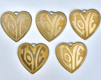 5 pc lot Hippy LOVE heart pendant nos vintage brass large  1970s  bulk Lot zz