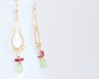 Sade - Prehnite and Pink Tourmalines 14k Gold Fill Chandelier Earrings