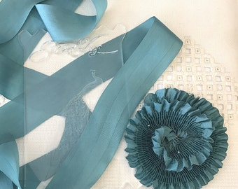 """Pleated Beautiful Teal color 100% Silk Ribbon 1-1/4"""" wide 1 Meter long. #04, great for flowers or doll costuming"""