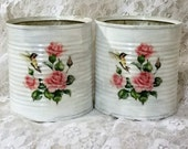 humming bird pink roses shabby chic upcycled tin can planters vase storage craft holders display cottage home decor sewing room beach cabin