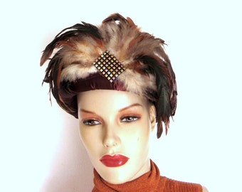 Vintage Feathered Hat/ Bronze Satin Jeweled  Open Top Hat/ Ann Marie Circa 80s