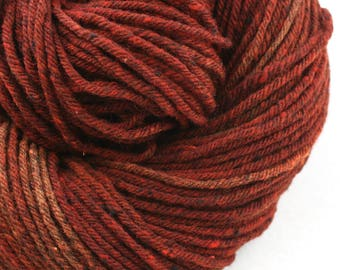 Hand Dyed Aran weight mini Empire Rambouillet Wool 213 yds 4oz Paprika