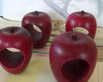 Vintage / Folkart Wooden Apples / Napkin Holders