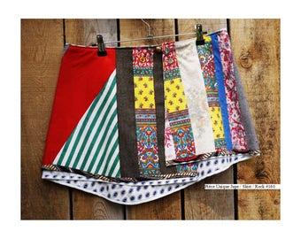 """Summer skirt """"Eclats de Jaune"""" recycled materials size 38 #160"""