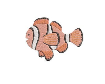 Clown Fish Embroidery Design; Clown Fish Embroidery Digital File; Clown Fish Embroidered Design; Ocean Embroidery; Saltwater Fish Embroidery