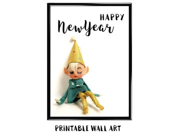 Happy New Year Print Wall Art Printable Greeting Card Vintage Kneehugger Holiday Shelf Elf Digital Download 5x7 8x10 A4 A5