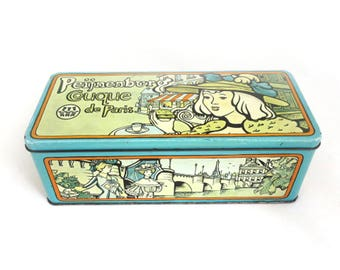 Vintage 1950s Dutch Tin Box, Peijnenburg Couque de Paris, Kitchen Storage,