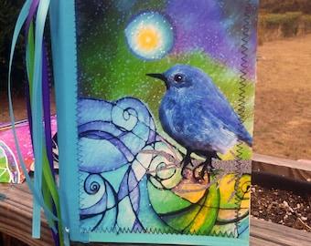 Moondust Joy 9 x 6 inch handmade art journal 140lb Watercolor paper