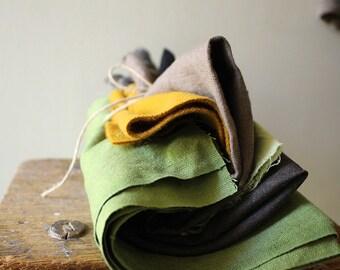 LINEN FABRIC / wool fabric / mix bundle / remnants / runningthreads