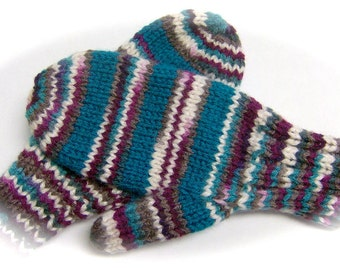 Mittens, Children, Hand Knit, Teal, Wine Multicolor, 5 to 7 years