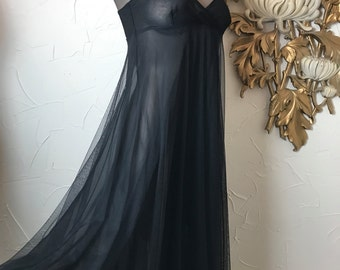 1990s dress Victoria's Secret black dress sheer nightgown size small 32 bust black nightgown full nightgown