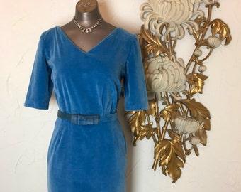 1950s dress blue dress vintage dress wiggle dress 26 waist classic dress velveteen dress