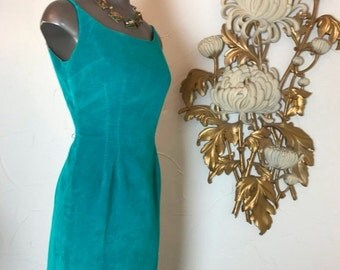 Fall sale 1950s dress wiggle dress turquoise dress size small velveteen dress sleeveless dress hourglass dress