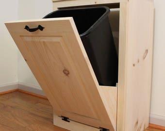 Trash Can   Trash Bin   Wood Tilt Out Wooden Trash Box   Cabinet To Hide