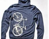 Bike Zip Hoodie Blue Tri-Blend Hoodie with Pale Yellow Bicycle Screenprint