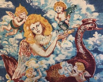 Vintage Renaissance Medieval angels cherubs religious fabric panels Astro Textiles