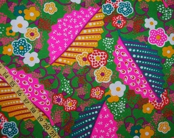 VINTAGE HIPPIE fabric Flower Power fabric neon fabric knit