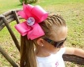 Monogram Initial, Hair Bow, Any Letter, Custom Boutique, Girls Gift Idea Easter Portrait, Kids Huge Bow, Monogrammed Font, Personalized Gift