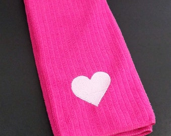 Embroidered Heart Tea Towel - Hot Pink