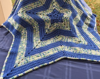 Blue and Multi Star Baby Afghan