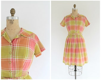 vintage 1950s Bea Young pastel plaid cotton day dress | 50s shirtwaist dress | vtg plaid dress | small