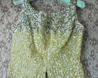 Green sequin top vintage crop top shell evening cocktail  party small  from vintage opulence on Etsy