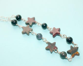 Bloodstone and Sterling Silver Necklace