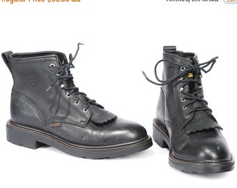 SALE . Loggers Work Boots 90s Grunge Black Packer Oil Resistant Durable Leather Roper Boot Lace Up Platform Booties Wide Fit US men 7.5 UK 7