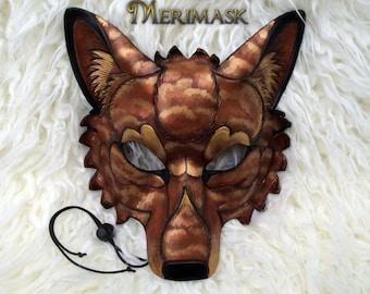 READY TO SHIP Amber Cloud Wolf Leather Mask... handmade costume masquerade burning man mardi gras halloween festival