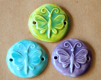 3 Handmade Ceramic Beads - Sweet Set of Bracelet Beads - Butterfly Link Beads in Spring Colors