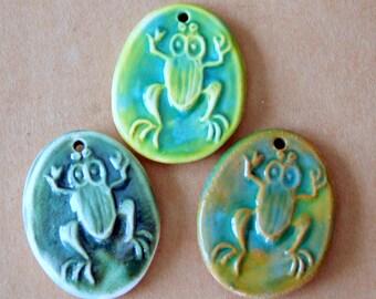 3 Handmade Stoneware Pendants - Frog Oval Beads - Frog Focals in Earthy Woodland Greens