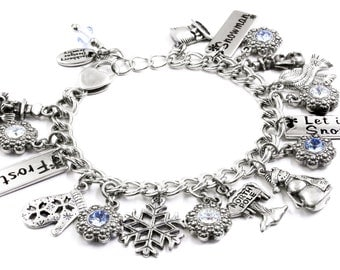 Snowman Charm Bracelet with Sapphire crystals, North Pole charms, Winter charms and Snowman charms sized for a adult or child