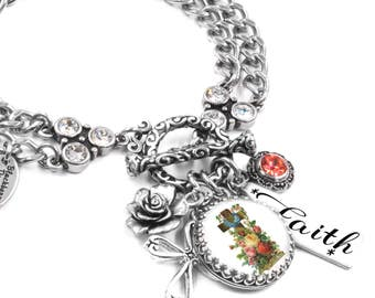 Christian Jewelry, Religious Jewelry, Cross Jewelry, Bibical Charm, Catholic Cross Bracelet