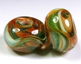 Lampwork Beads, Bead Pair - Lampwork Bead Pair, Lampwork Boro Glass Beads, bbglassart, Verdant Rose