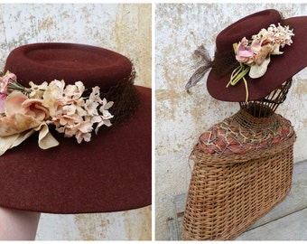 Vintage 1930s/1940s French brown wool felt hat adorned with faded color bouquet flowers