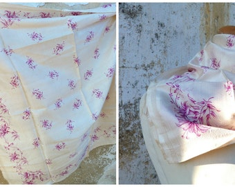 Vintage Antique Victorian 1890 French  cream scarf silk gorgeous reffined lillac printed flowers
