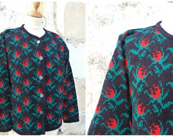 Vintage 1970/70s Folk tapestry pattern cardigan sweater Black forest Tyrol october fest size L