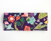 Handmade Vinyl Long Wallet - Gentle, bird wallet, purple, floral, vegan, large wallet, clutch, zipper, card case, vinyl wallet, flowers,